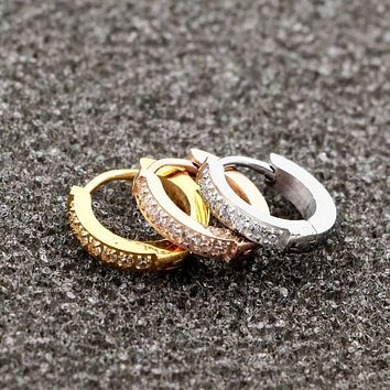Titanium Steel Semi-circle Inlaid Zircon Hoop Earrings For Women
