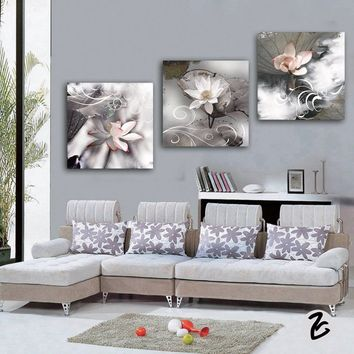 3Pcs chinese lotus flower printed oil painting wall art decorative pictures home decor print poster wall painting for living roo