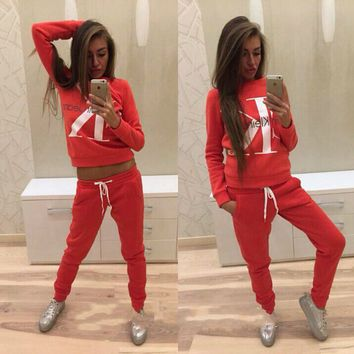 """Calvin Klein""Fashion Letter Long Sleeve Shirt Sweater Pants Sweatpants Set Two-Piece Sportswear"
