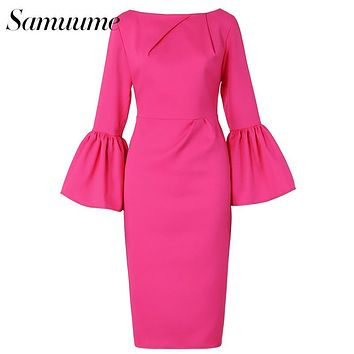 Samuume High Class Sexy Office Lady Temperament Flare Sleeve Round Neck Dress Women 2016 Bodycon Pencil Dress Vestidos A1609031
