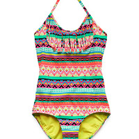 FOREVER 21 GIRLS Globetrotter Fringed One-Piece (Kids) Coral/Green Small