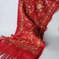Floral Embroidered Red Wool Scarf, 56 inch, New without tag