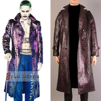 Jared leto joker cosplay purple batman coat suicide squad halloween for men jacket harley quinn costumes adults mens trench