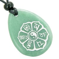 Tibetan Mantra Ying Yang Good Luck Amulet Green Quartz Pendant Necklace