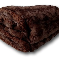 DaDa Bedding Luxury Solid Dark Chocolate Brown Espresso Loose Layer Faux Fur with Sherpa Backside Soft Warm Fleece Twin Throw Blanket