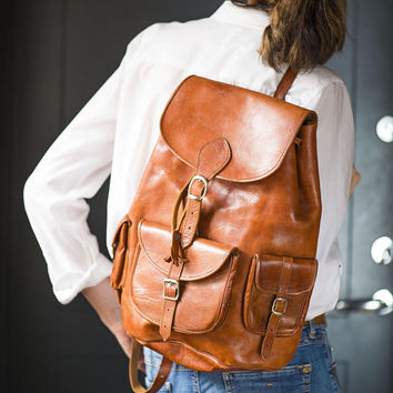 Tan Genuine Leather Backpack Vintage. Unisex Leather Backpack. Travel leather rucksack. Weekend Backpack 90s fashion. Gift Hipster Daypack