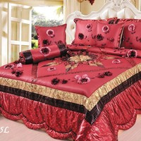Tache 4-6 Piece Golden Red Winter Holiday Luxurious Patchwork Comforter Quilt Set (BM3795L6PC)
