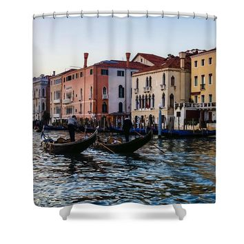 Impressions of Venice - Glossy Water Gondolas on the Grand Canal Shower Curtain