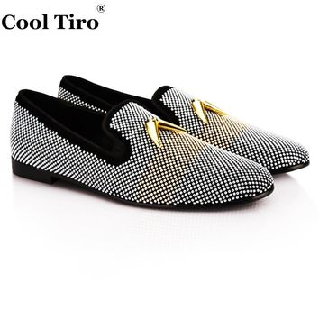 COOL TIRO new Black cattle suede silver bubble hot drilling Shark Tooth Loafers