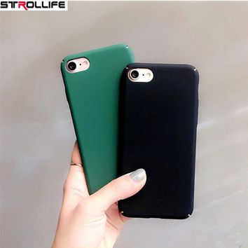 STROLLIFE Cool Green Frosted Hard Case For iphone 6 6s 7 Plus 5s Ultra thin Black Matte Phone Cases Back Cover Coque For iphone7