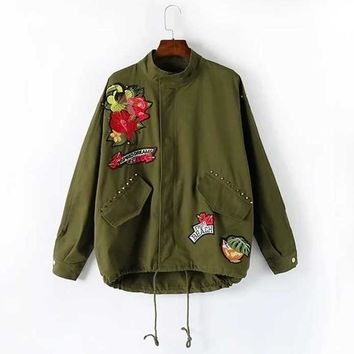 Fashion Women Appliques Embroidery Jackets Army Green Stand Collar Long Sleeve