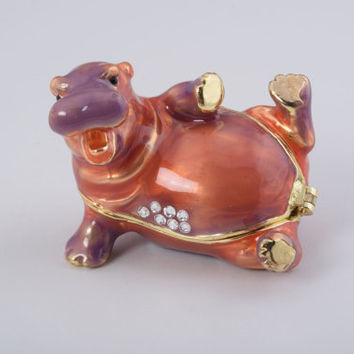 Happy Hippo Laying on His Back Faberge Styled Trinket Box Handmade by Keren Kopal Enamel Painted Decorated with Swarovski Crystals