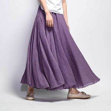 Cotton Linen Long Skirt Women 2018 Summer Candy Color Pleated A-Line Big Circle Faldas Vintage Elastic Waist Beach Maxi Skirt