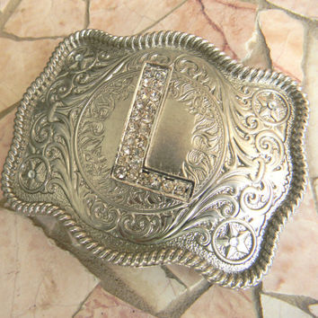 Silver Monogram Letter L Personalized Belt Buckle, Rhinestone Initial J Monogrammed Womens Mens Kids Western Belt Buckle, Custom Belt Buckle