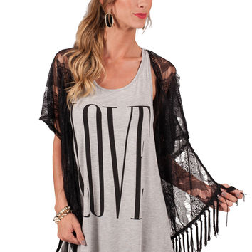 Midnight & Magic  Fringe Kimono Top
