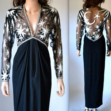 70s Vintage BOB MACKIE Dress Sequin Gown Size Small Medium with Moon and Stars Amazing