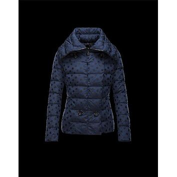 Moncler PALAS Double-Breasted Turtleneck Dark blue Jackets Jacquard Womens 41473455WM