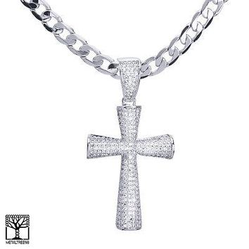 "Jewelry Kay style Silver Plated Iced Out CZ Cross Pendant 24"" Cuban Chain Necklace BCH 13419 S"