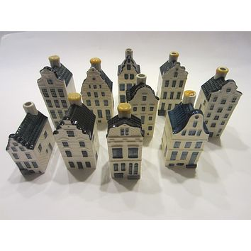 Blue Delft Decanters Ceramic Buildings Made In Holland For KLM By Bols