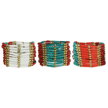 Wide Bar and Round Beaded Stretch Bracelet