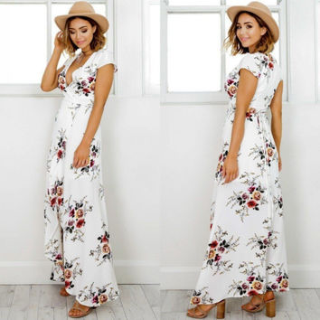 Women Boho style long dress V-neck short sleeve beach summer dresses Floral print Vintage chiffon maxi dress vestidos de festa