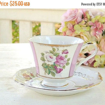 On Sale Norleans Pink Rosebuds Tea Cup and Saucer Set, Cottage Style, Shabby Cottage Roses, Tea Party Set, Weddings, Made in Japan