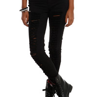 LOVEsick Destroyed Black Super Skinny Jeggings