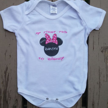First Disney Vacation Personalized Onesuit Shirt - Walt Disney World Trip - Girl's Personalized Minnie Top