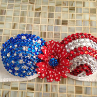 Be Fourth of July ready with this very patriotic strapless bra! Perfect for concerts or parties!