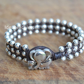 Elephant bracelet, Cute elephant bracelet, Couple Elephant, Gift Idea, Beaded Dark Brown bracelet