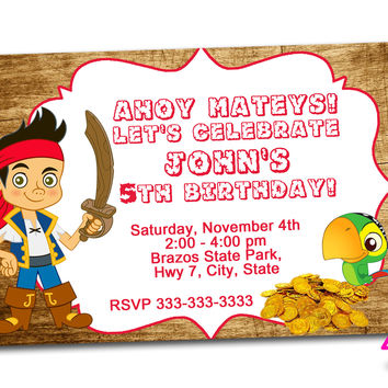 pirate princess Kids Birthday Invitation Party Design