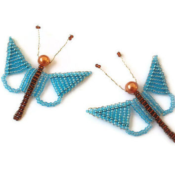 seed bead spring ornament, seed bead butterfly, decorative ornament set of 2 blue butterflies