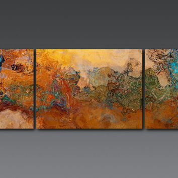 "Extra Large triptych abstract art canvas print, 30x80 gallery wrap, in orange, turquoise and copper, from abstract painting ""Canyon Sunset"""