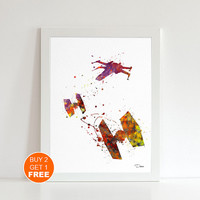 Tie fighter watercolor print 2, Star wars watercolor illustration art print, TIE fighter Star Wars Ship, home decor, Star wars movie art