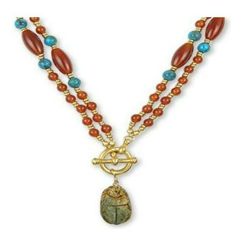 "22"" Ancient Egyptian Artifacts, Scarab, Red Carnelian, Turquoise Toggle Necklace"