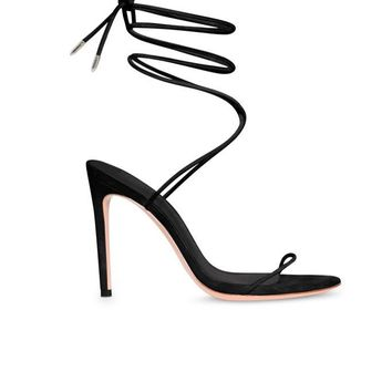 Barely There Lace Up Heel - Black