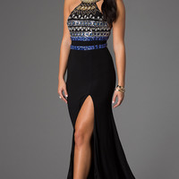 Floor Length Sleeveless Jewel Embellished Dress