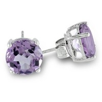 Sterling Silver 8mm Round Gemstone Solitaire Earrings