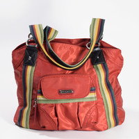 Red Nylon Tote  Colorful Rasta Rainbow Cheerful Purse Bag Carryall