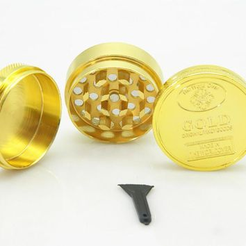 1PC Mini 40mm 50mm 3-4 Layers Metal Zinc Alloy Gold Coin Shape Herb Crusher Smoking Herbal Spice Pollen Muller Tobacco Grinder