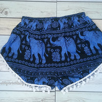 Dark Blue Pom pom Short Elephants Unique Boho Print Summer Beach Chic Fashion Trim Tribal Aztec Ethnic Clothing Bohemian Ikat Cloth Hobo