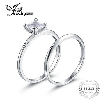 JewelryPalace Princess Cut 0.6ct Wedding Band Solitaire Engagement Ring Bridal Sets 925 Sterling Silver For Women