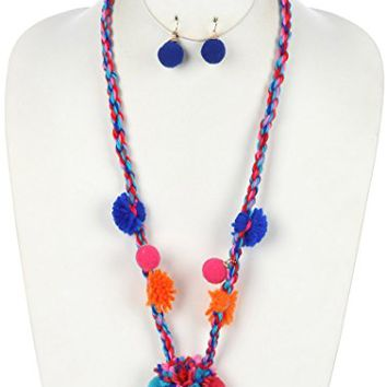 Blue Twisted Yarn Pom Pom Pendant Necklace and Earring Set
