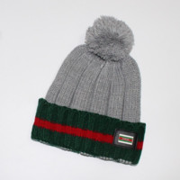 GUCCI Fashion Winter Knit Women Men Beanies Hat Cap Gray