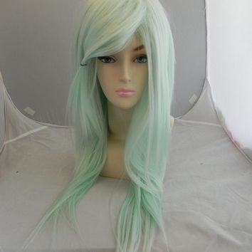 Light Mint Green / Long Straight Layered Wig Pastel Lolita Gyaru, Cosplay Wig, Costume Wig, Dress Up, Scene Hair