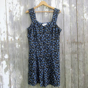 Blue Flower Print Romper 90s Vintage Rayon Floral One Piece Mini Culottes Dress with Shorts Corset Back Dress Womens Size 16P XL