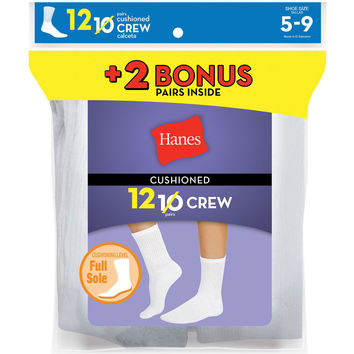Hanes Womens Cushion Crew Socks White 12-Pack (Includes 2 Free Bonus Pairs)