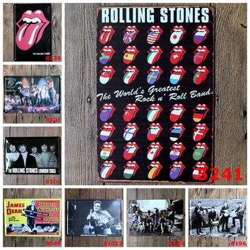 Rolling Stones The World's Greatest Rock N' Rock Band Retro Tin Art Wall Decor Metal Sign Decor for Bistro Mancave Home Bar