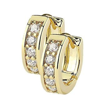 BodyJ4You Small Earrings Hoops Huggie Half Circle Pave CZ Crystal Clear Gold Stainless Steel 12mm