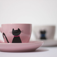 Cat Cup Set, Cat Coffee Cup, Cup and Saucer, Espresso Cup, Cat Lover Gift, Crazy Cat Lady Gift, Porcelain Cup, Cat Pottery, Cat Home Decor
